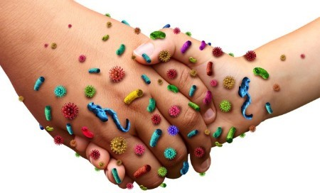 hygiene hands with bacteria